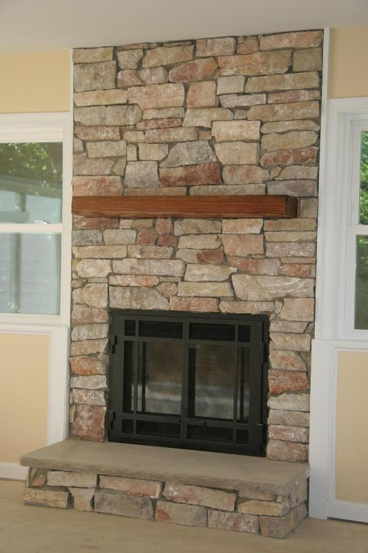 Stone Veneer Fireplace : Fourtitude stone veneer on fireplace surround